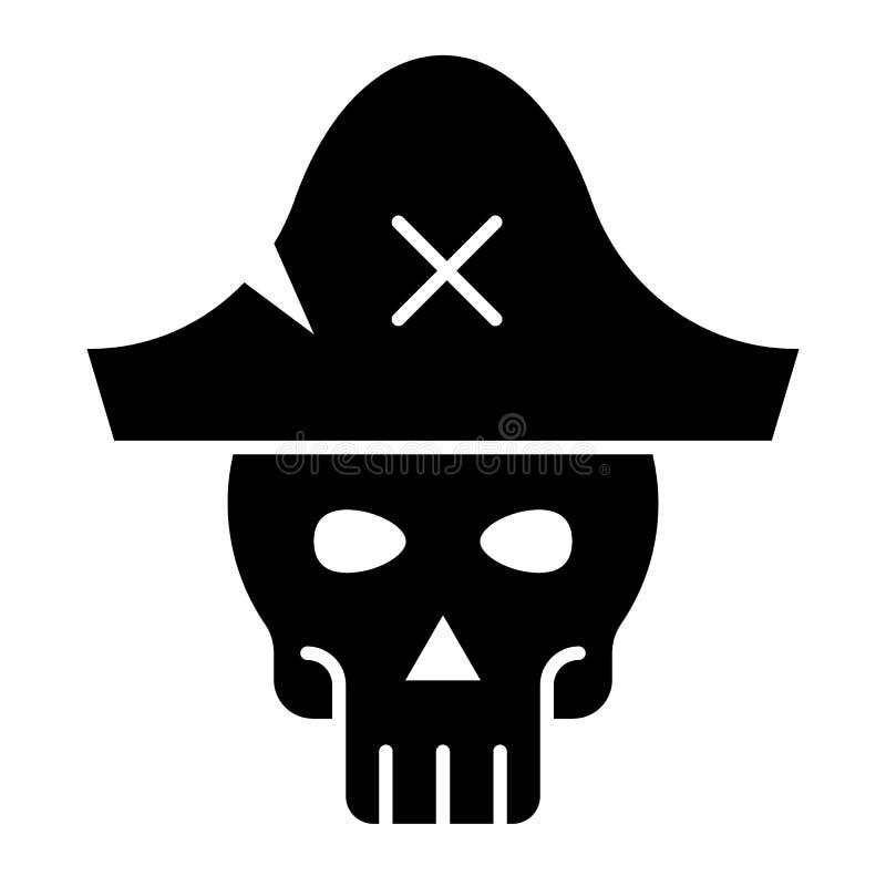 Cranio nell'icona di glifo del cappello del pirata Illustrazione di scheletro di vettore di web isolata su bianco Progettazione d illustrazione vettoriale
