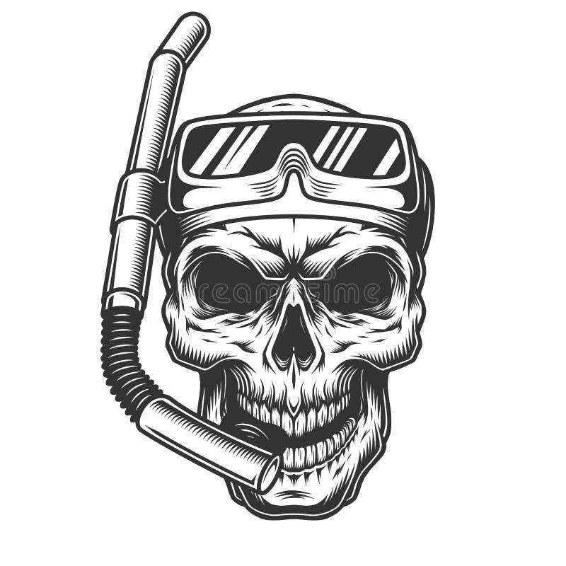 Cranio nella maschera di immersione subacquea illustrazione di stock