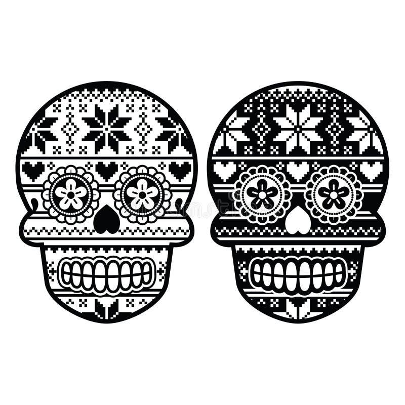 Cranio nero messicano dello zucchero con il modello del nordico di inverno royalty illustrazione gratis