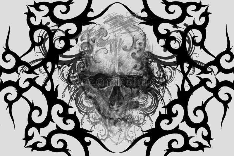 cranio Progettazione del tatuaggio sopra fondo grigio contesto strutturato L'AR fotografie stock