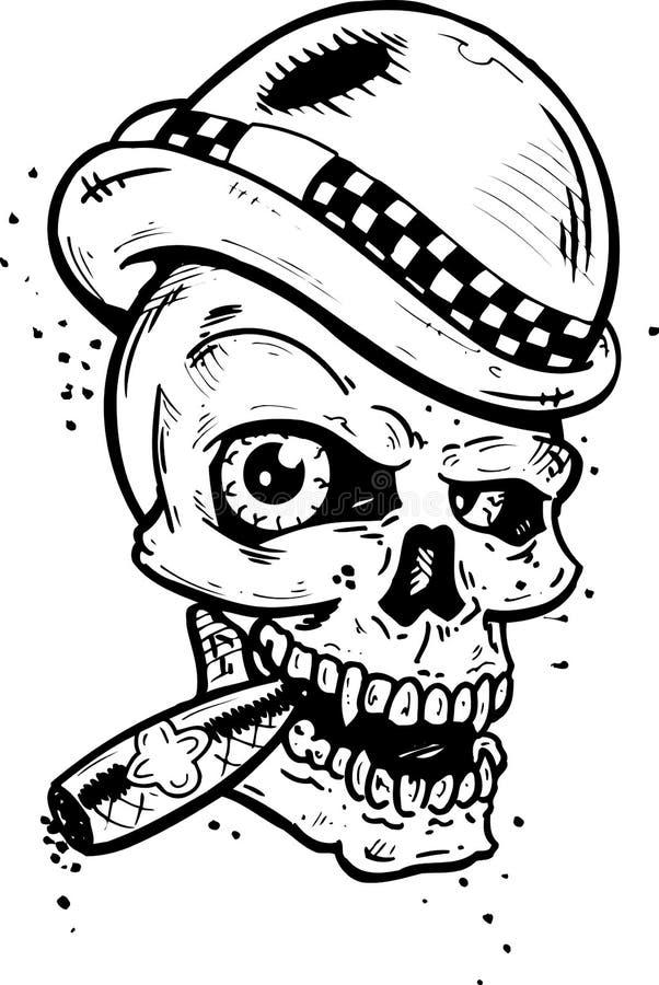Cranio punk di stile del tatuaggio con le ali che fumano un sigaro illustrazione di stock