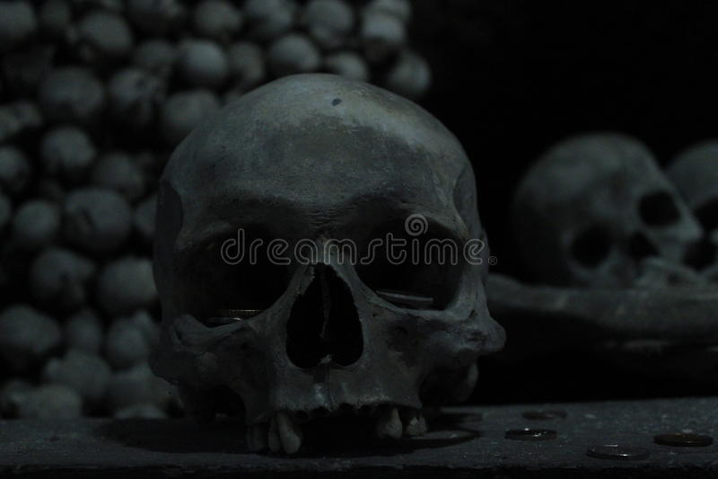 Cranio, scheletro, ossa, buio, Kutna Hora in repubblica Ceca, morte, viaggio Europa immagini stock