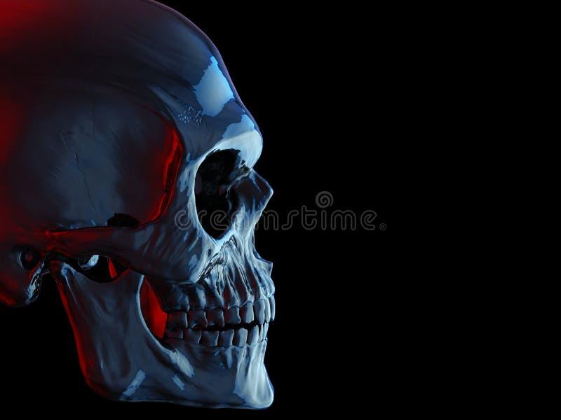 Cranio scuro blu che affronta destra - colpo tagliato illustrazione di stock