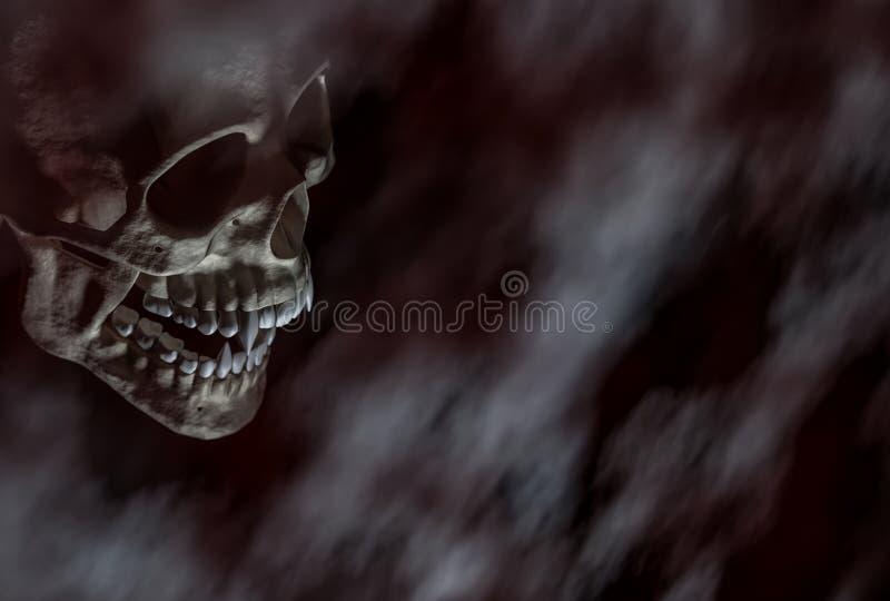 Cranio spaventoso del vampiro di Halloween sui precedenti scuri immagini stock libere da diritti