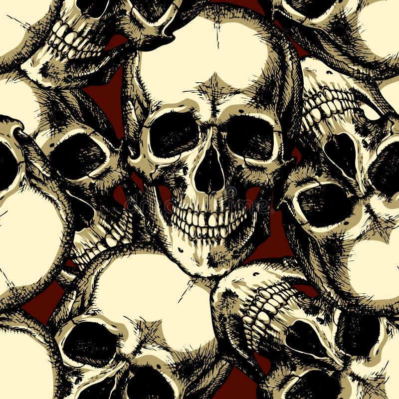 Cranio sul modello senza cuciture del fondo rosso immagini stock
