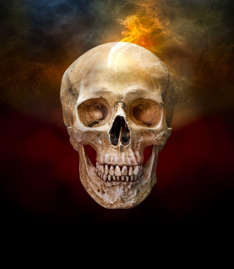 Cranio umano con fumo fotografia stock