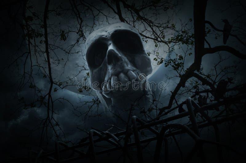Cranio umano con il vecchio recinto sopra l'albero, il corvo, la luna e nuvoloso morti fotografia stock