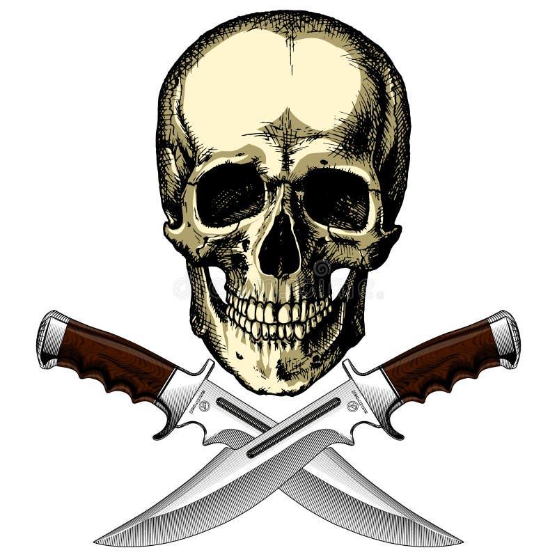Cranio umano del pirata con due coltelli illustrazione vettoriale