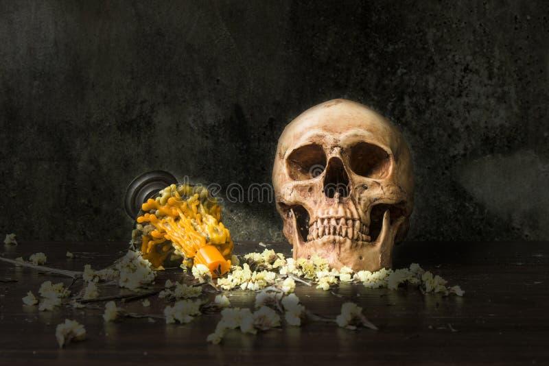 Cranio umano di vita di abilità con la candela fotografie stock