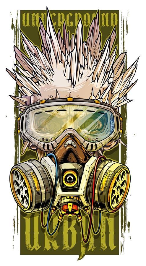 Cranio umano grafico con le punte del ghiaccio e la maschera antigas royalty illustrazione gratis
