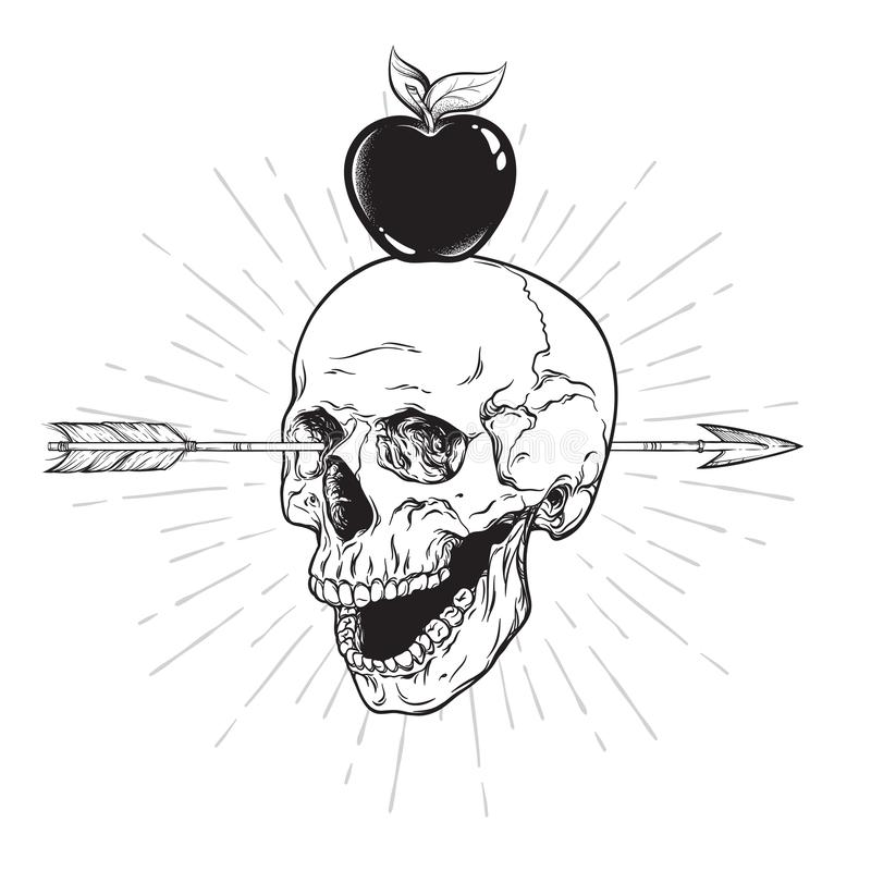 Cranio umano penetrante con la linea arte della freccia ed il lavoro del punto Autoadesivo di Boho, stampa o vettore disegnato a  royalty illustrazione gratis