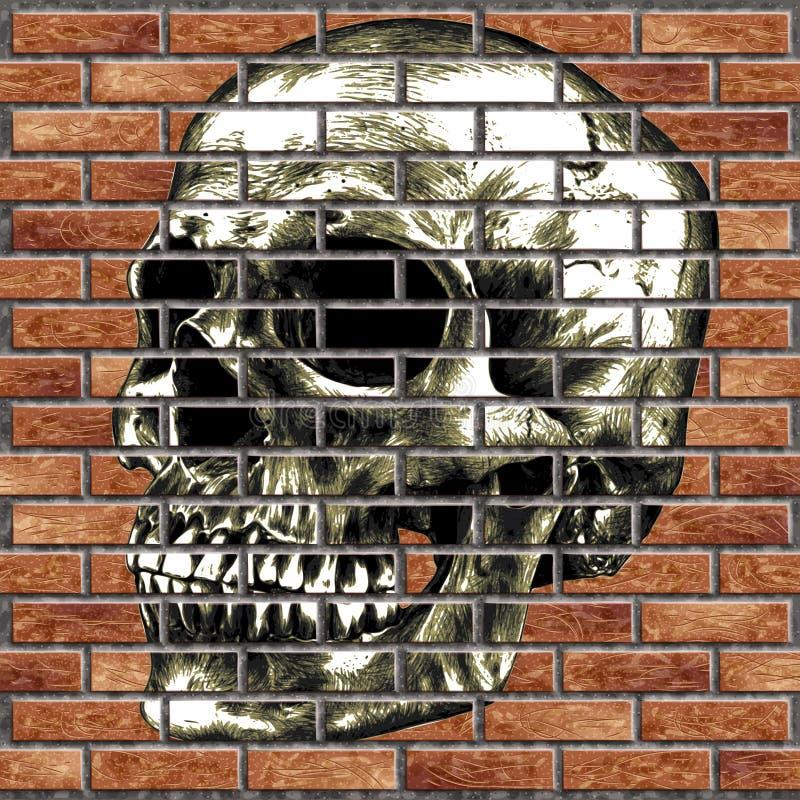 Cranio umano su un muro di mattoni fotografia stock libera da diritti