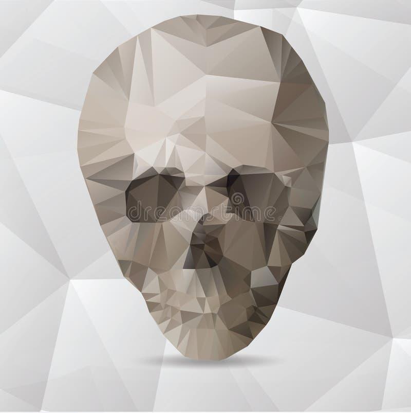 Cranio umano in uno stile triangolare illustrazione di stock