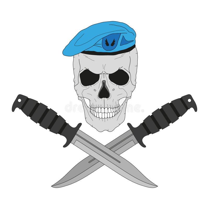 Cranio in un berretto blu con i coltelli illustrazione vettoriale