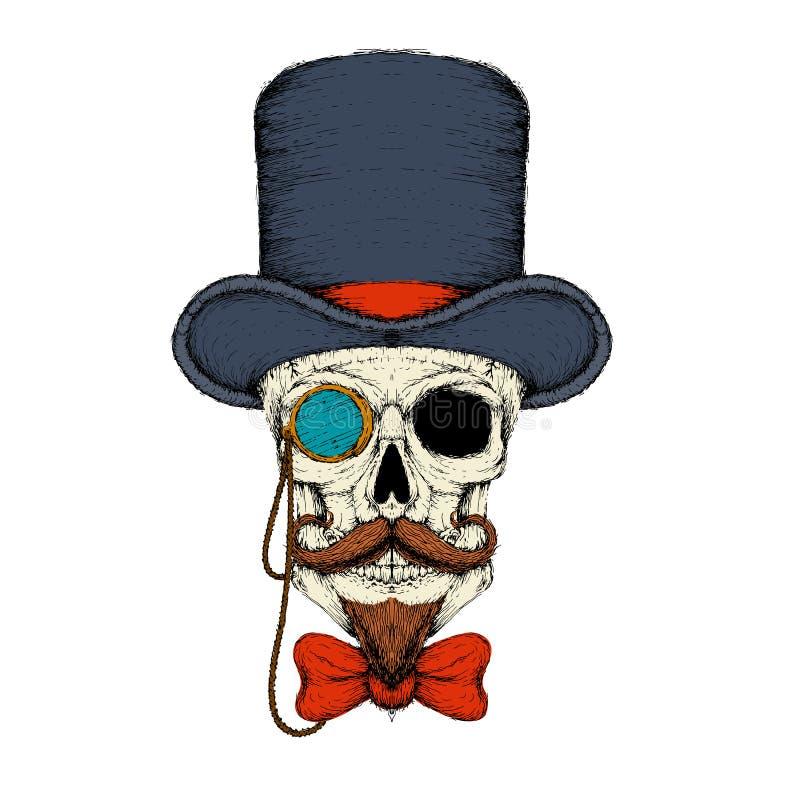 Cranio in un monocolo del cappello con un vettore di schizzo della barba illustrazione di stock