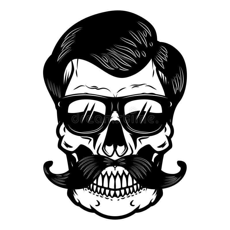 Cranio in vetri di sole Progetti l'elemento per il manifesto, la maglietta, carta illustrazione vettoriale