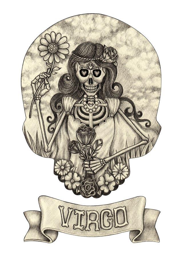 Cranio Virogo dello zodiaco Disegno della mano sul documento royalty illustrazione gratis