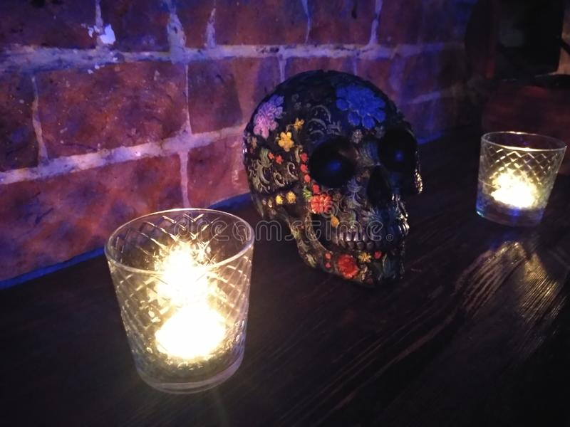 Cranium. Brain, braincase, skull, candle, yorick royalty free stock images