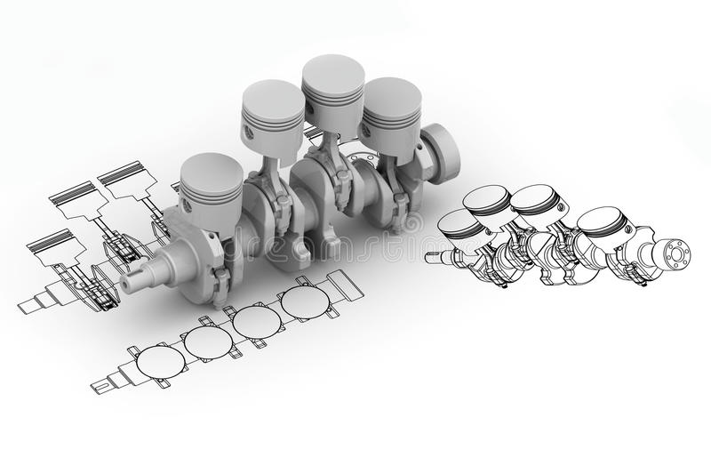 Crank 4 cylinder chart with 3d. Image royalty free illustration