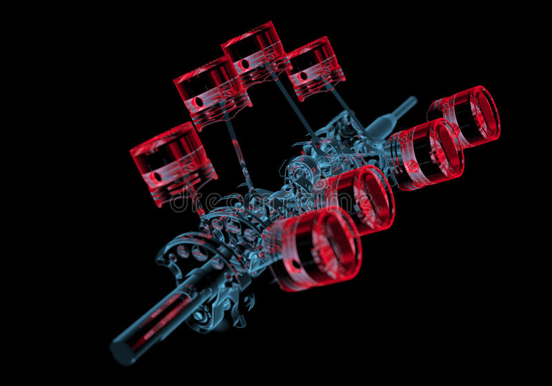 Crank shaft with pistons (3D xray red and blue transparent). Crank shaft with pistons (3D xray red and blue transparent isolated on black background vector illustration