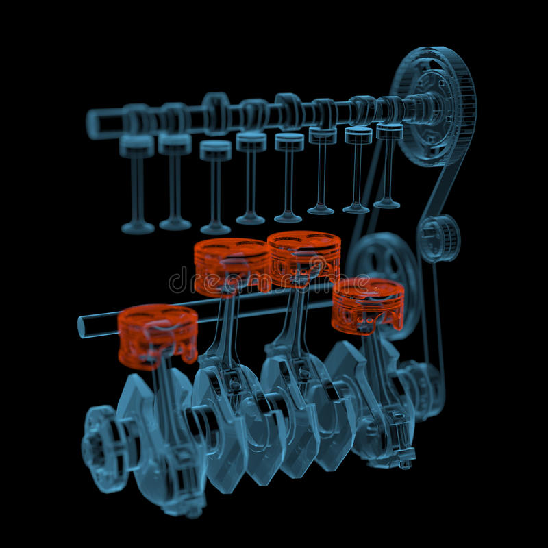 Crank shaft with pistons (3D xray red and blue transparent). Crank shaft with pistons (3D xray red and blue transparent isolated on black background stock illustration