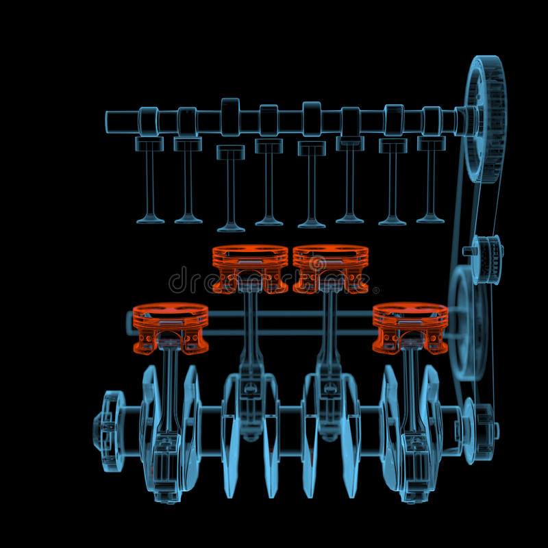 Crank shaft with pistons (3D xray red and blue transparent). Crank shaft with pistons (3D xray red and blue transparent isolated on black background royalty free illustration