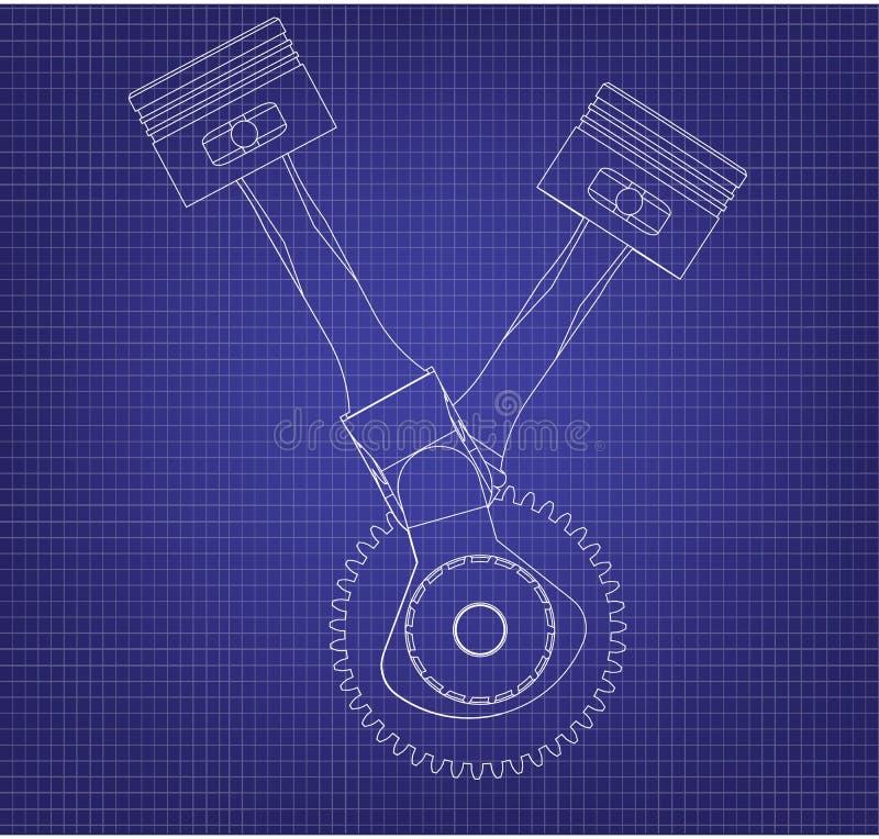 Crankshaft i dwa tłoku na błękicie ilustracji