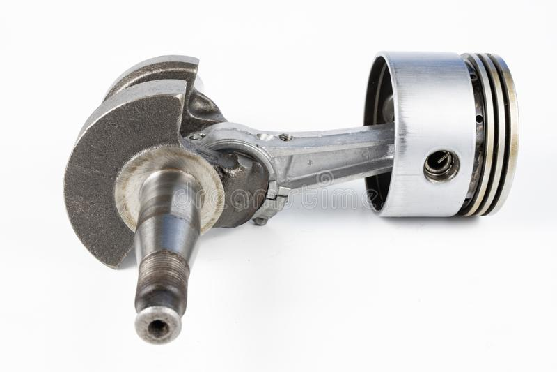 Crankshaft i tłok mały spalanie silnik na białym ta fotografia royalty free