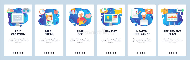 ?crans onboarding d'appli mobile Payez le jour, salaire, régime de retraite, nourriture d'ordre en ligne, assurance médicale mala illustration libre de droits