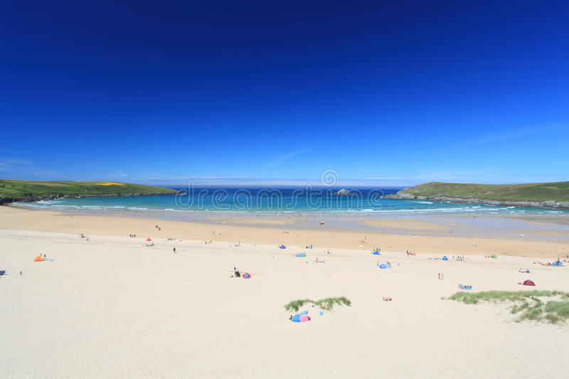 Crantock Bay in Cornwall, England stock photos