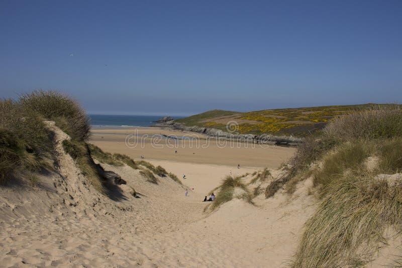 Sunlight over Dunes, Crantock Beach, on the beautiful north Cornwall coast stock images