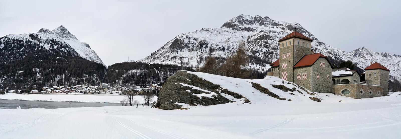 Da Sass Castle, Surlej, Switzerland stock photography