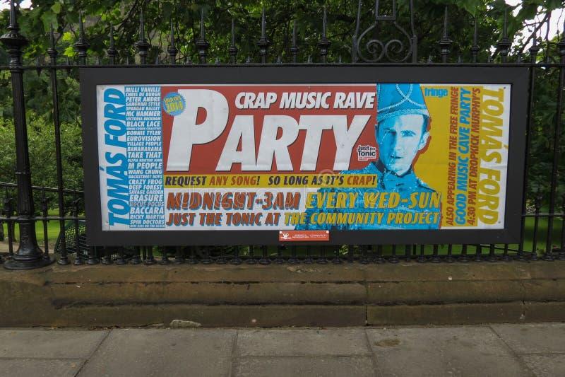 Music rave party in Edinburgh. EDINBURGH, UK - CIRCA AUGUST 2015: music rave party ad stock photos