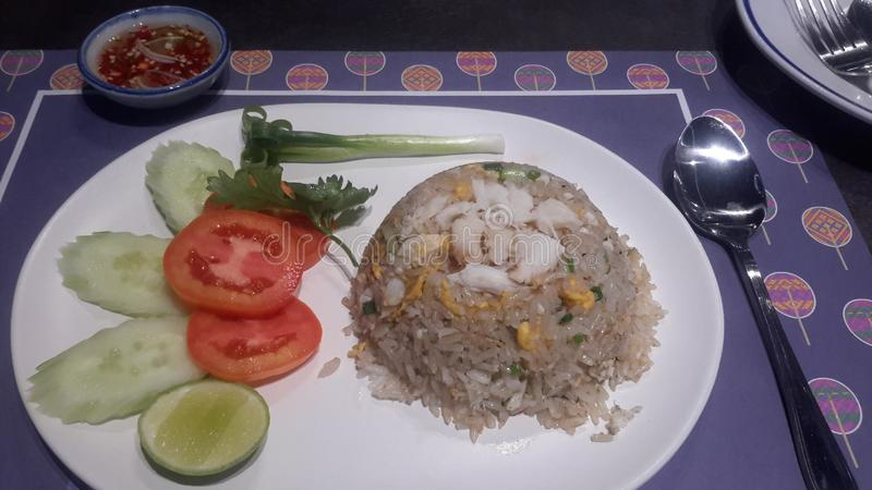 Crap  rice   is  thai  food  delicious  and  easy  for cooking. Crap  rice   is  thai  food  delicious  and  easy  for royalty free stock image