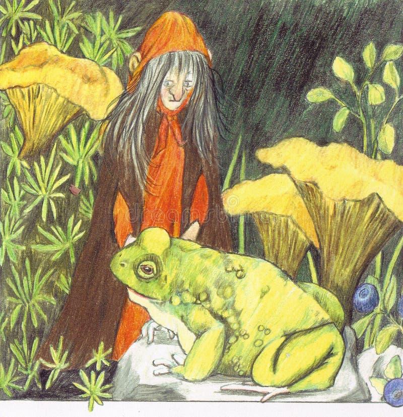 Crapaud et sorcière illustration de vecteur