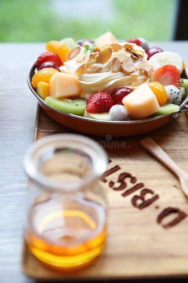 Crepe cake with fruit royalty free stock photo