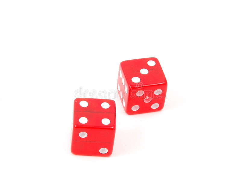 Craps Dice 10. 7 (craps) rolled on red dice royalty free stock photos