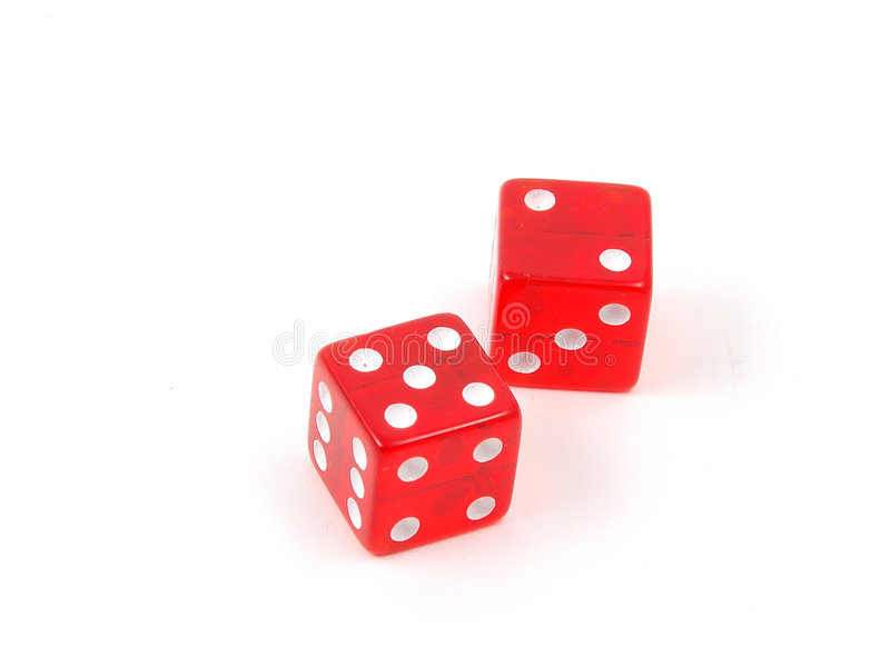 Craps Dice 7. 7 (craps) rolled on red dice royalty free stock photos