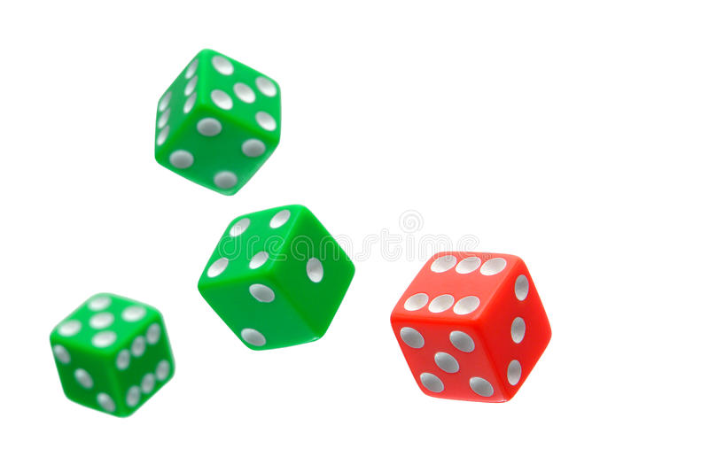 Craps Dice Flying in a Gambling Game Isolated. Gambling craps game dice used for shooting and rolling with bet wager on rolls flying in the air isolated on white stock photography