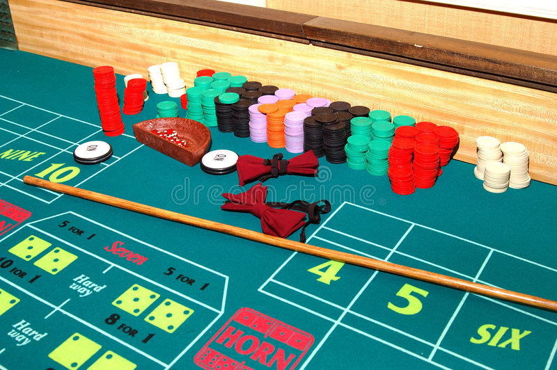 Craps Table. A Las Vegas Craps table at the end of a shift stock image