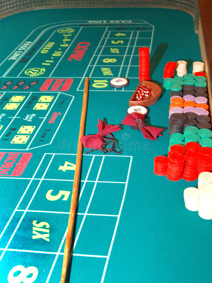Craps WTable. A Las Vegas Craps table at the end of a shift stock photos