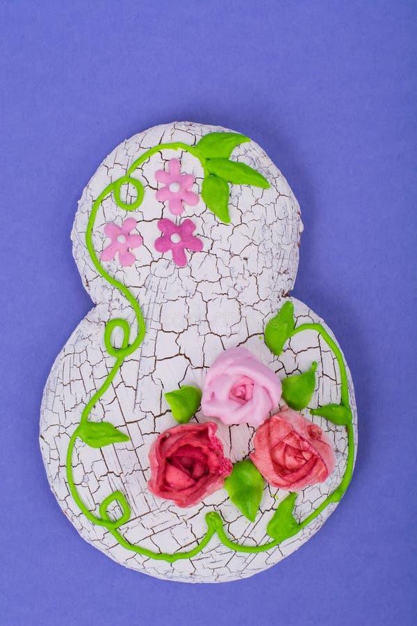 Craquelure technique in decorating gingerbread. Studio Photo royalty free stock image