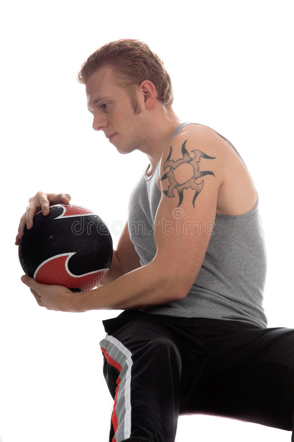 Craquement de medicine-ball image stock