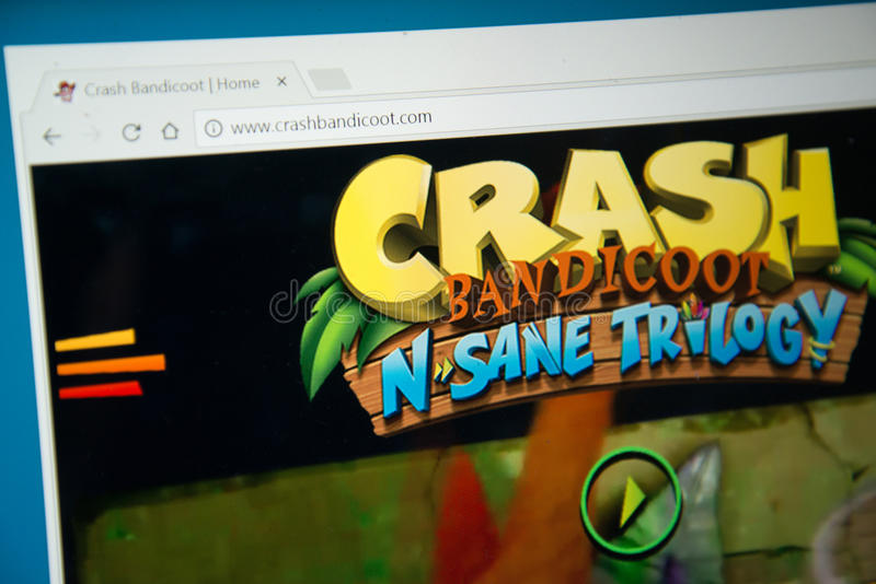 Crash Bandicoot N Sane trilogy. Bratislava, Slovakia, june 15, 2017: Crash Bandicoot N Sane trilogy website on laptop screen stock photo