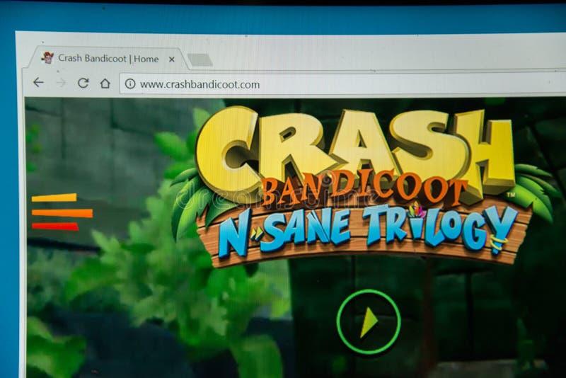 Crash Bandicoot N Sane trilogy. Bratislava, Slovakia, june 15, 2017: Crash Bandicoot N Sane trilogy website on laptop screen royalty free stock image