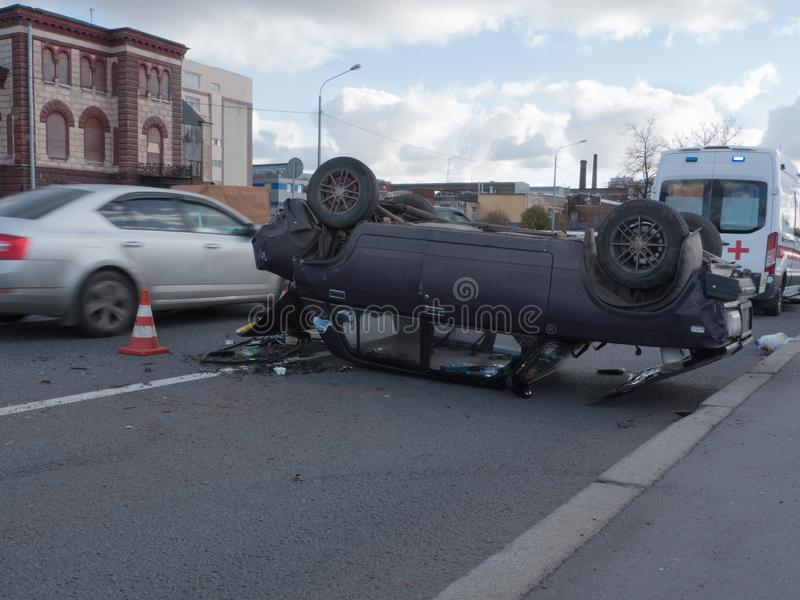 Crash car, overturned stock image