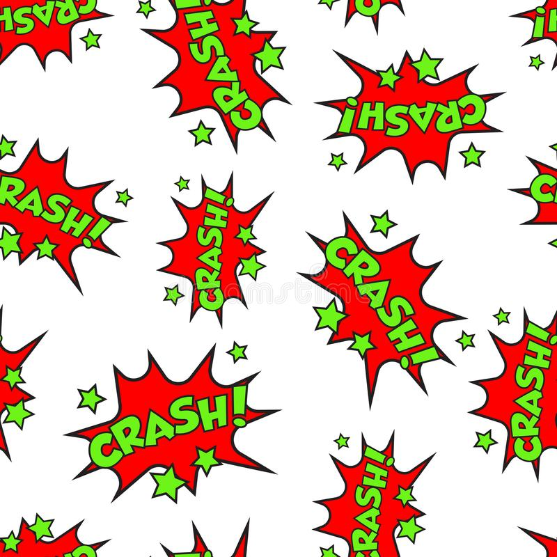 Crash comic sound effects seamless pattern background. Business vector illustration