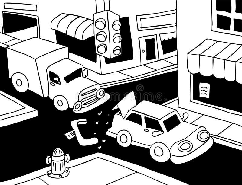 Crash de véhicule - jour ensoleillé - noir et blanc illustration libre de droits