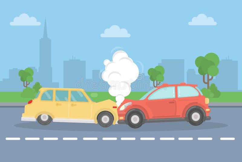 Crash de véhicule sur la route illustration libre de droits