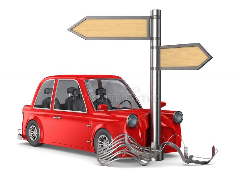 Crash de voiture sur fond blanc. Illustration 3D isolée illustration stock